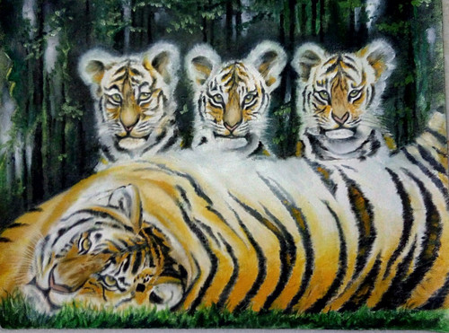 Mom-kids,Tiger sibllings,ART_2705_20801,Artist : Suneel Nijwala,Oil
