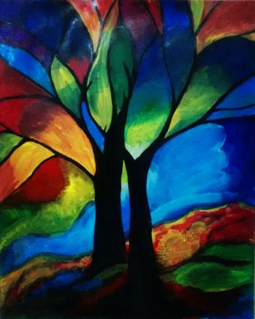 Nature, forest, tree, colors, abstract, rainbow, multicolors, painting,Rainbow Forest,ART_3052_20799,Artist : Neha Gupta,Acrylic