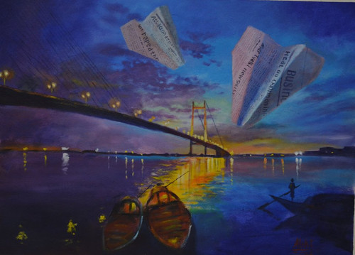 painting kolkata city abstract Surrealism,Insignificance -2,ART_3067_20828,Artist : Abhishek Bhattacharyya,Acrylic