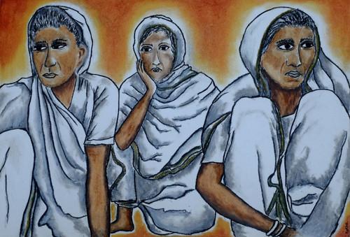 sati, women, realism, India, rural life,sati,ART_3064_20824,Artist : Rekha Divakaran,Pastels