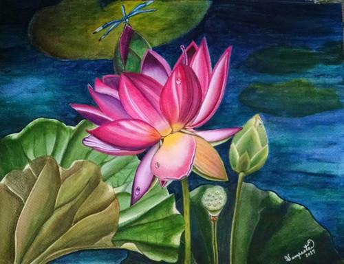 Lotus, Pond, Darkness, Dragonfly, Green, Blue,My Spirit,ART_2393_20795,Artist : Sampeeta Banerjee,Water Colors