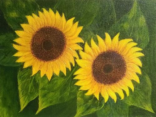 Sunflower Flower ,Sunflower,ART_1444_11898,Artist : Sangita Patil,Acrylic