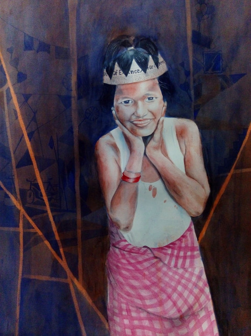 painting kolkata city potrait,The Queen,ART_3067_20851,Artist : Abhishek Bhattacharyya,Water Colors