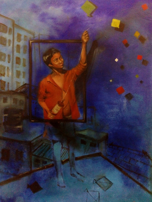 painting kolkata city abstract Surrealism,Flying dreams,ART_3067_20847,Artist : Abhishek Bhattacharyya,Acrylic