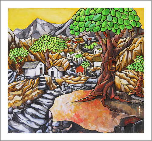 city, village, forest, tree,Darra,ART_3096_20912,Artist : Madhav Joshi,Acrylic