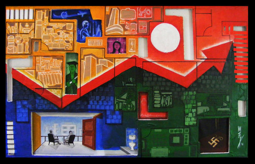 man, women, house, home,1 BHK,ART_3096_20911,Artist : Madhav Joshi,Mixed Media