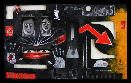 fear, phobia, dread, terror, apprehension, misgiving, dark,The fear,ART_3096_20910,Artist : Madhav Joshi,Mixed Media