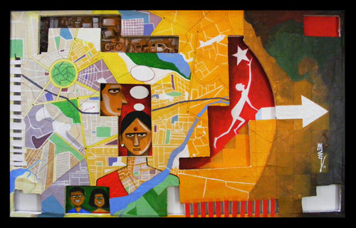 Lady, House, Child, Women,1 BHK,ART_3096_20909,Artist : Madhav Joshi,Mixed Media