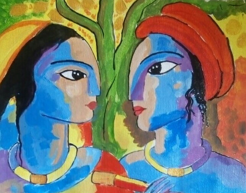 Krishna,Radha,KRISHNA AND RADHA,ART_2419_20941,Artist : ABHIK MAHANTI,Acrylic