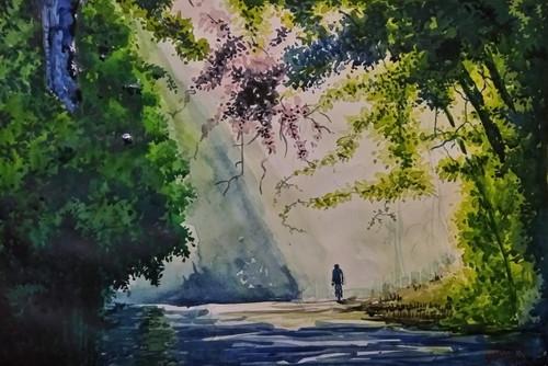 Sun rise surrealism santosh loni water colour ,Hope,ART_715_15114,Artist : Santosh Loni,Water Colors