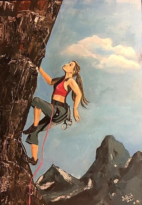 Mountain Climbing, Woman, Mountains,Climber,ART_168_20978,Artist : Subhash Gijare,Acrylic