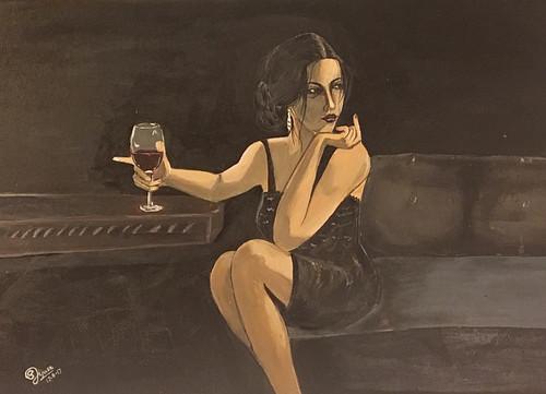 Woman, Wine, Night Club,,Woman N Wine,ART_168_20977,Artist : Subhash Gijare,Acrylic