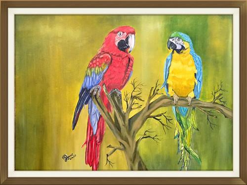 Parrots, Nature , ,Pair of Parrots,ART_168_20975,Artist : Subhash Gijare,Oil