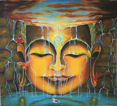 buddha,mind,peace,waterfall,tranquility,birds,nature,living room painting,bed room painting,buddha paintings,ART_1288_11067,Artist : Manini Soni,Acrylic