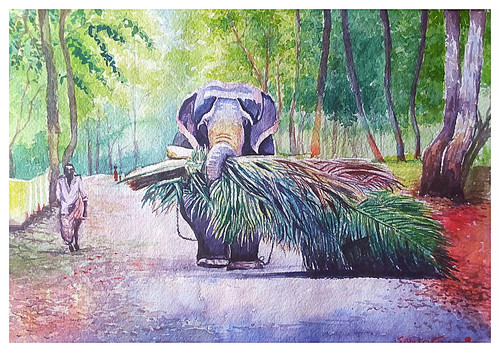 elephant village santosh loni,work is worship 16*11,ART_715_5956,Artist : Santosh Loni,Water Colors