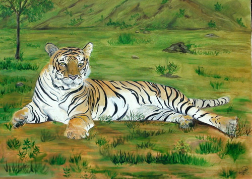 tiger, relaxation, forest, wildlife, tree, mountain,THE TIGER,ART_1372_21110,Artist : PRIYANKA SATARKAR,Oil