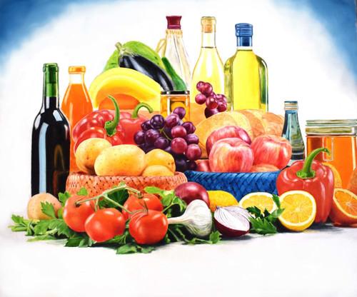 apples, grape, still life , fruits, onion, herb, bottle,basket,hyperrealism,Fresh fruits,ART_3144_21128,Artist : Ratul Das,Oil