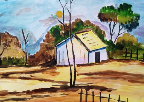 Village,Village ,ART_3114_21122,Artist : Debasree Chatterjee,Water Colors