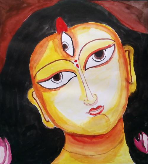Maa Durga,Devi,ART_3114_21121,Artist : Debasree Chatterjee,Water Colors