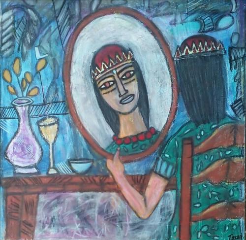 Abstract ,portrait, beautiful girl, Feminine ,The Queen ,ART_2314_18597,Artist : Tanuj Swarnakar,Pastels