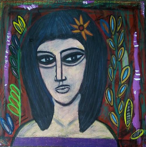 Portrait, abstract, modern, girl,The Beauty,ART_2314_18596,Artist : Tanuj Swarnakar,Mixed Media
