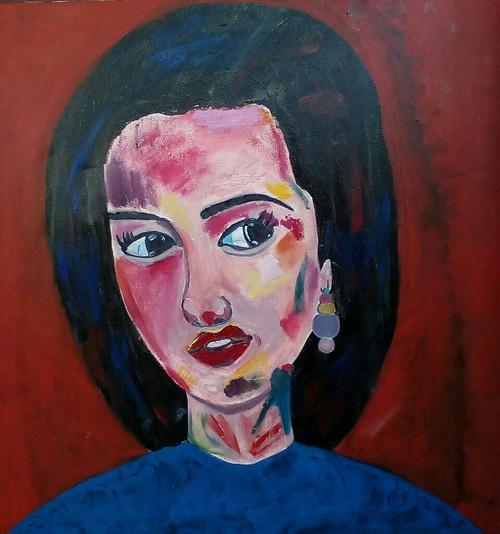 Abstract portrait, beautiful girl, ,Simplicity in beauty,ART_2314_18007,Artist : Tanuj Swarnakar,Mixed Media