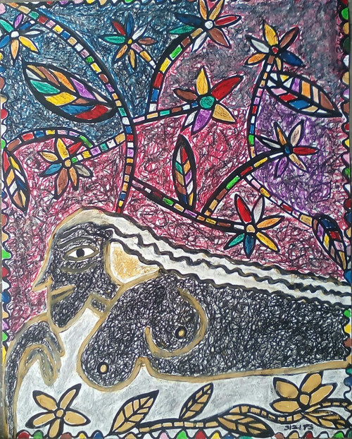 Abstract,women,portrait,modern,flowers,Flowers,ART_2314_21016,Artist : Tanuj Swarnakar,Poster Colors
