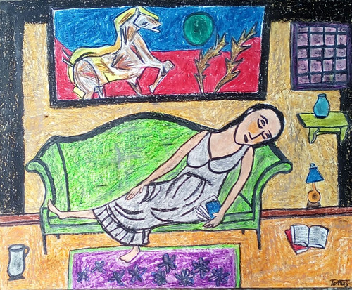 Abstract ,portrait,girl,modern,sleeping,Sleeping Beauty,ART_2314_20933,Artist : Tanuj Swarnakar,Pastels