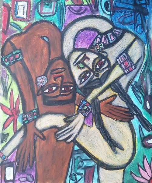 Abstract ,portrait,girl,modern,,Bending Love,ART_2314_18595,Artist : Tanuj Swarnakar,Pastels