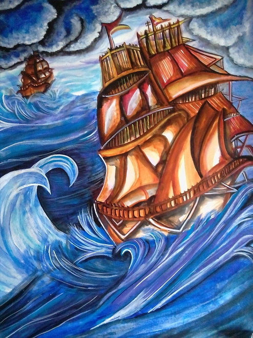 The ship,The ship of terrifying storm,ART_3127_21182,Artist : Pingla Rani,Acrylic