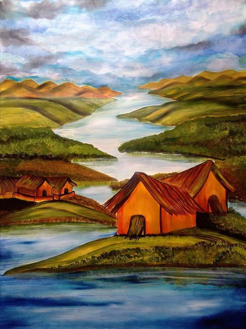 The peaceful hut,The peaceful hut in river side,ART_3127_21181,Artist : Pingla Rani,Mixed Media