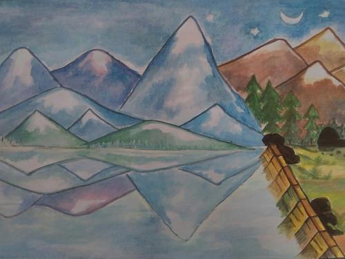 snowy hills ,The snowy hillside ,ART_3162_21196,Artist : Meera Kumari,Poster Colors