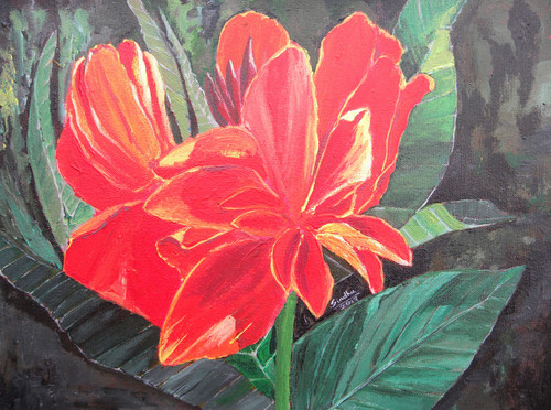 canna, flower, red, green, lalbagh,A Canna in Lalbagh.,ART_171_21169,Artist : Sindhulina C,Acrylic