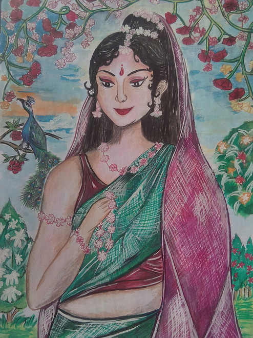 Beautiful lady,The lady with flowers ornament,ART_3162_21193,Artist : Meera Kumari,Poster Colors