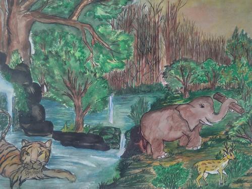 wildlife,happy life in jungle,ART_3162_21189,Artist : Meera Kumari,Poster Colors