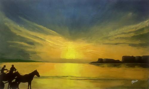 Beach,Evening at Murud-Janjeera,ART_3015_21179,Artist : VIJAYKUMAR SHINDE,Acrylic