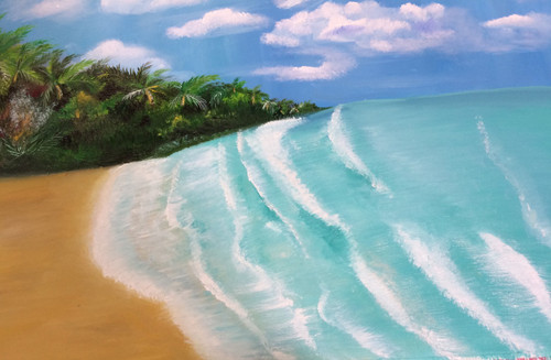 Beach,sky, holiday, water,sea, waves, coconut tree, palm tree, sand,Beach Escape ,ART_1784_21162,Artist : Amita D,Oil