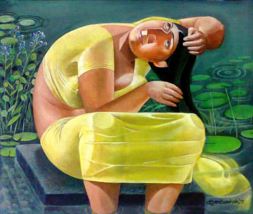 Bathing ,Sohagi - I,ART_3164_21200,Artist : Albert Ashok,Acrylic