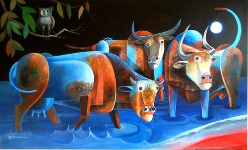 meaningful paintings,Blood River,ART_3164_21197,Artist : Albert Ashok,Acrylic