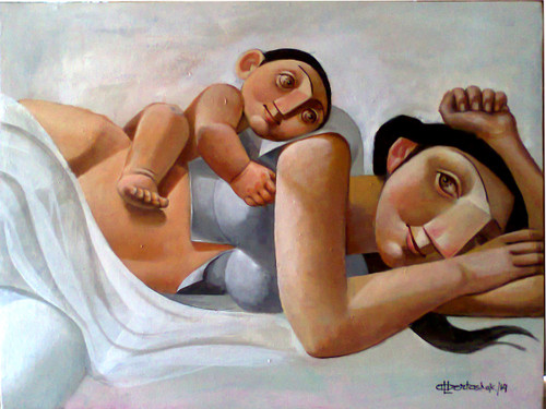 Mother and Child,Mother and Child -I,ART_3164_21195,Artist : Albert Ashok,Acrylic