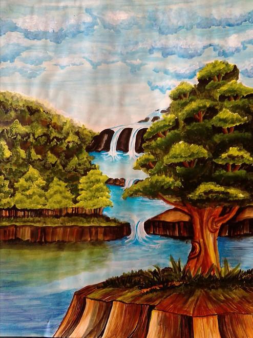 trees with warerfall,5 step waterfall,ART_3127_20989,Artist : Pingla Rani,Acrylic