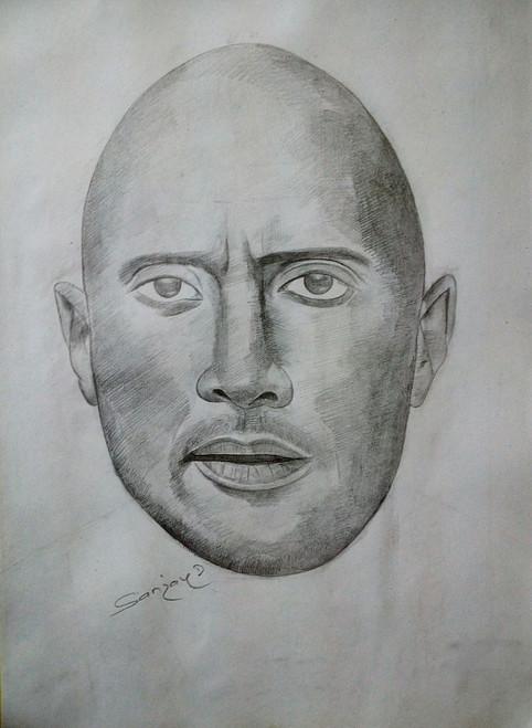 Dwayne Johnson,Face of Rock,ART_2167_20877,Artist : SANJAY DUKHANDE,Pencil