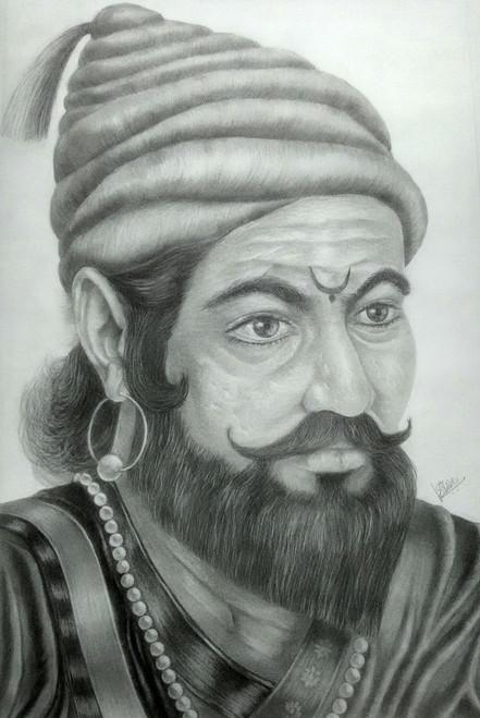 a3719f64a894e Chhatrapati Shivaji Maharaj (ART 3015 20668) - Handpainted Art Painting -  15in X 23in