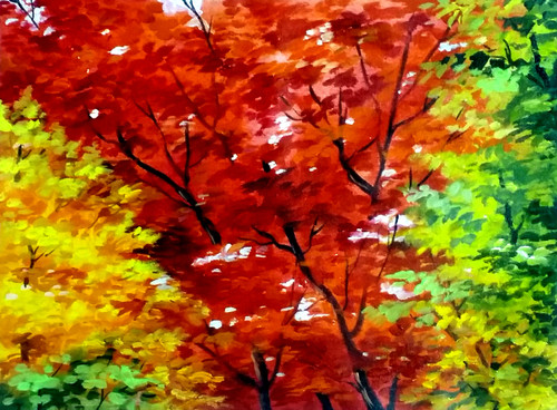 autumn,forest,acrylic,painting,canvas,nature,acrylic canvas,painting,Beauty of Autumn,ART_1232_15726,Artist : SAMIRAN SARKAR,Acrylic