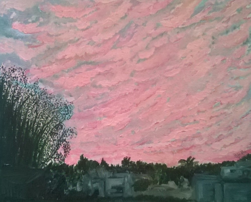 sunrise, bangalore, pink, sky, clouds, trees,Sunrise in the city,ART_171_11475,Artist : Sindhulina C,Oil