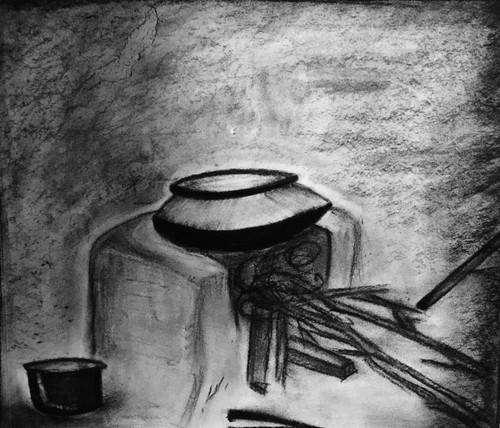 Indian, Vintage, Old Age, Kitchen, chulha,Indian Vintage Kitchen,ART_3171_21290,Artist : Pooja Singh Srivastava,Charcoal