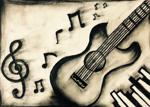 Music, Abstract, Charcoal, Guitar,Musical Treat,ART_3171_21288,Artist : Pooja Singh Srivastava,Charcoal