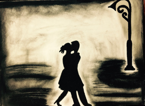 Charcoal, Romance, Abstract, Love, Couples, Night,Two souls,ART_3171_21287,Artist : Pooja Singh Srivastava,Charcoal