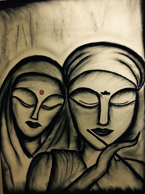 Charcoal, Radha, Krishna, Abstract, Figurative, Black, White,Radha Krishna,ART_3171_21285,Artist : Pooja Singh Srivastava,Charcoal