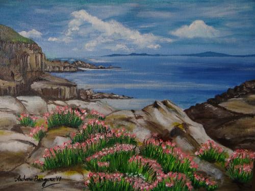 seaside,cliff,sky.blue sky,flowers,Flowers on seaside cliff,ART_2109_21267,Artist : Archana Bangera,Oil
